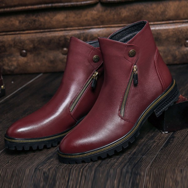 Burgundy Zipper Details Motorcycle Boots Round Toe Flat Ankle Boots image 2