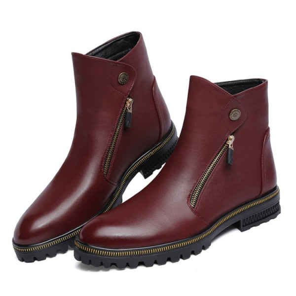 Burgundy Zipper Details Motorcycle Boots Round Toe Flat Ankle Boots image 3