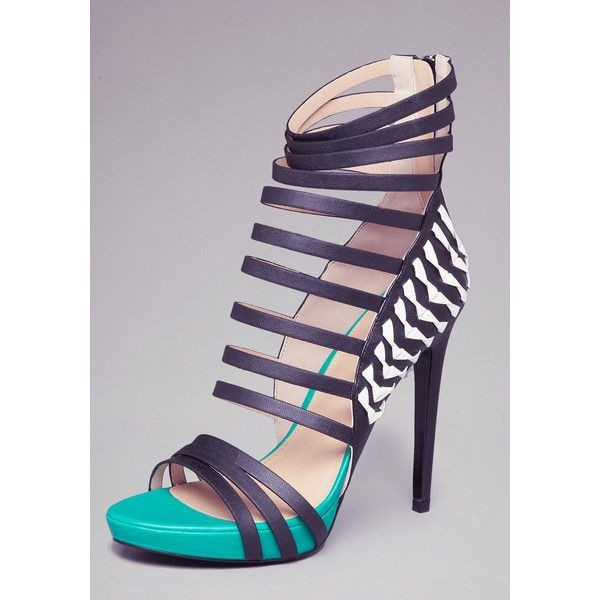 Women's Turquoise and Black High Heels Platform Strappy Stripper Shoes image 2