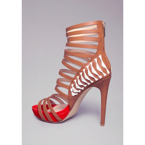 Tan Heels Open Toe Platform Strappy Stiletto Heel Sandals image 2