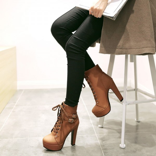 Tan Short Boots Vegan Leather Lace up Platform Chunky Heel Ankle Boots image 3