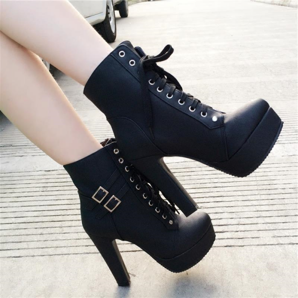 Women's Black Lace Up Boots Platform Chunky Heels Ankle Booties image 6
