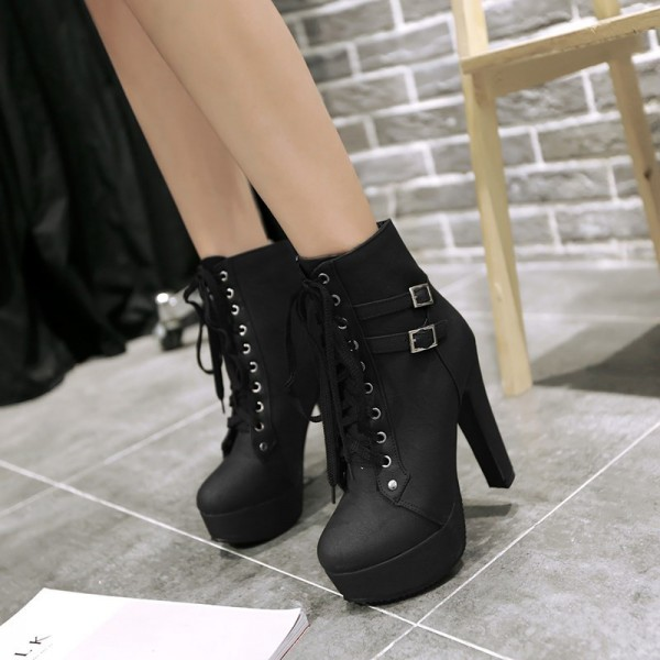 Women's Black Lace Up Boots Platform Chunky Heels Ankle Booties image 3