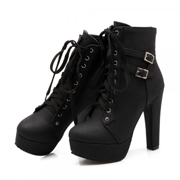 Women's Black Lace Up Boots Platform Chunky Heels Ankle Booties image 1