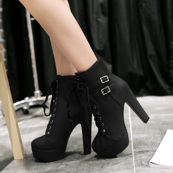 Women's Black Lace Up Boots Platform Chunky Heels Ankle Booties image 2