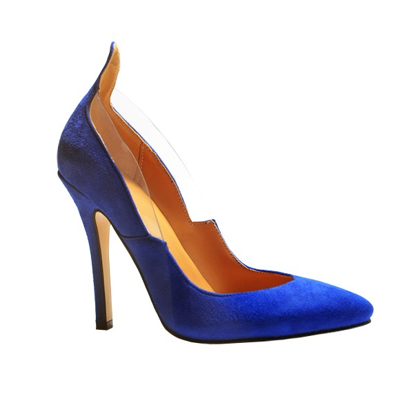 Royal Blue Heels Suede Pointy Toe 4 Inch Stiletto Heels for Ladies image 2