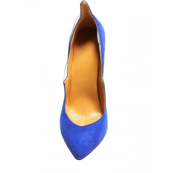 Royal Blue Heels Suede Pointy Toe 4 Inch Stiletto Heels for Ladies image 4