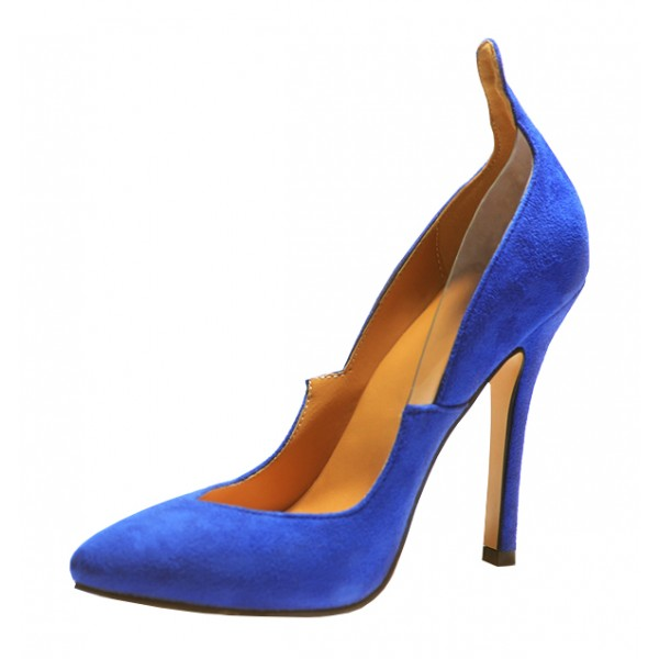 Royal Blue Heels Suede Pointy Toe 4 Inch Stiletto Heels for Ladies image 1