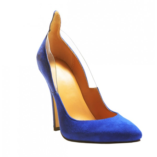 Royal Blue Heels Suede Pointy Toe 4 Inch Stiletto Heels for Ladies image 5