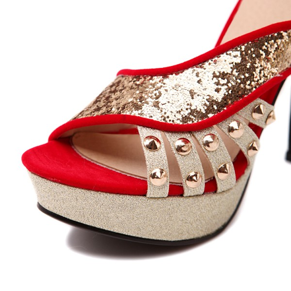 Red and Gold Glitter Shoes Open Toe Mules Sandals with Platform  image 3