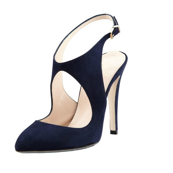 Navy Slingback Heels Suede Cut out Closed Toe Sandals image 1