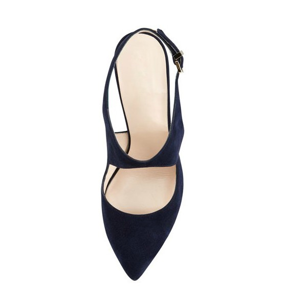 Navy Slingback Heels Suede Cut out Closed Toe Sandals image 2