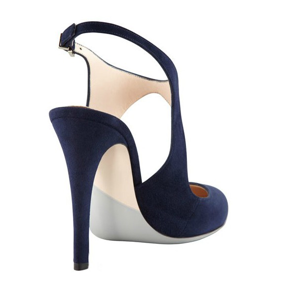 Navy Slingback Heels Suede Cut out Closed Toe Sandals image 3