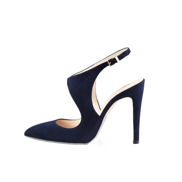 Navy Slingback Heels Suede Cut out Closed Toe Sandals image 4