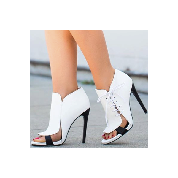 White 5 Inch Heels Side Lace-up Open Toe Stiletto Heel Summer Boots  image 2