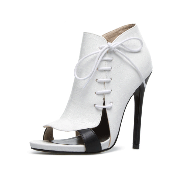 White 5 Inch Heels Side Lace-up Open Toe Stiletto Heel Summer Boots  image 1