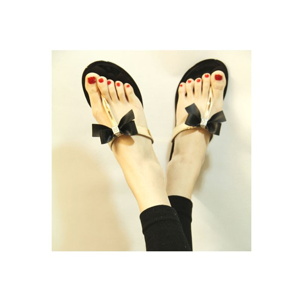 Black and Gold Cute Sandals Flat Beach Flip Flops with Bow image 2