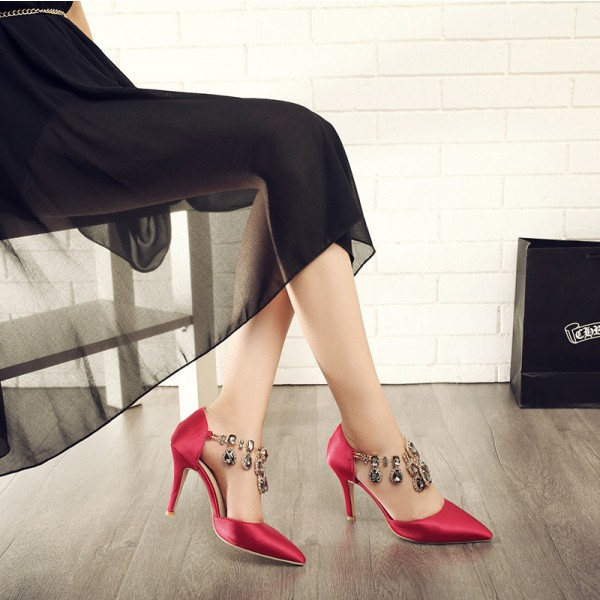 Red Satin Evening Shoes Jeweled Sandals Pointy Toe Stiletto Heels image 2