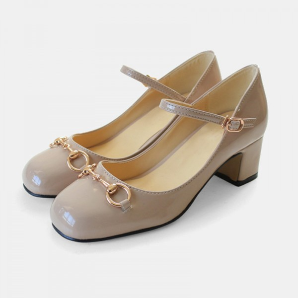 Women's Nude Vintage Heels Patent Leather Mary Jane Shoes image 1