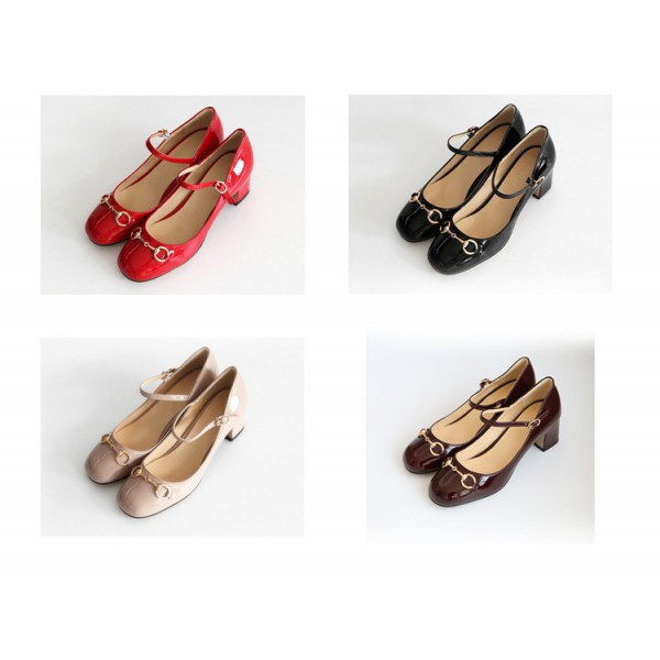 Women's Nude Vintage Heels Patent Leather Mary Jane Shoes image 2