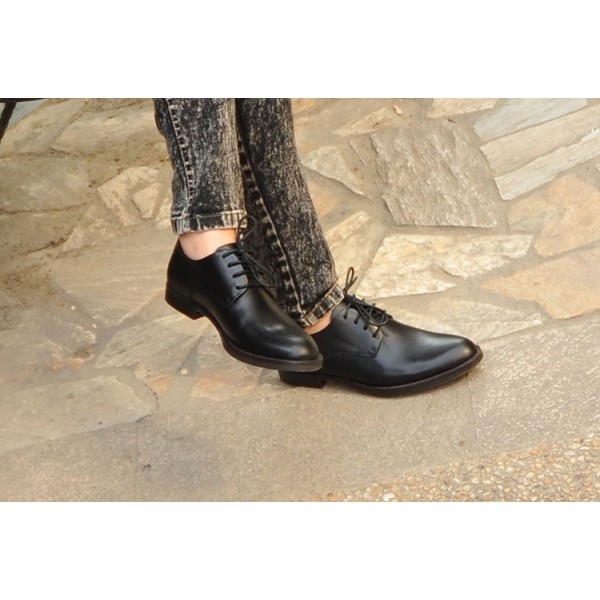 get new a few days away low cost Black Women's Oxfords Lace-up Flats Vintage Formal Dress Shoes