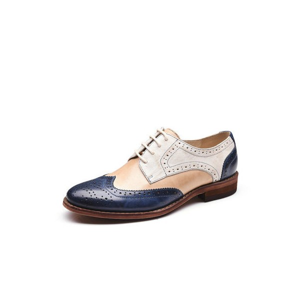 01b26d97e025 Navy and White Women s Oxfords Vintage Lace up Flats Comfortable Shoes  image ...