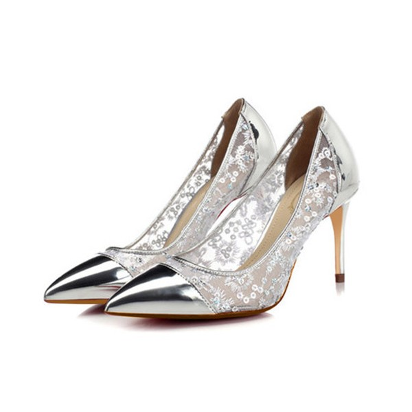 Silver Stiletto Heels Sequined Mirror Leather Pumps for Female image 1