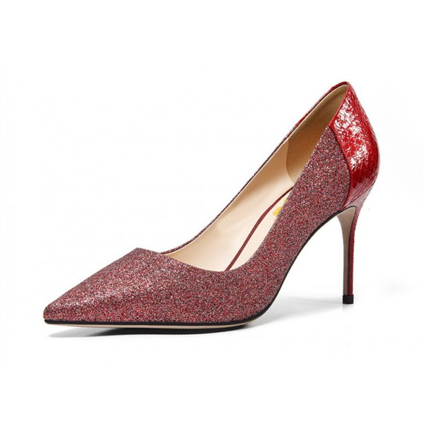 Women's Burgundy Stiletto Heels Dress Shoes Pointy Toe Sexy Pumps  image 2