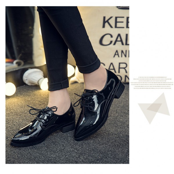Black Women's Oxfords Patent Leather Lace up Heels Vintage Shoes image 3