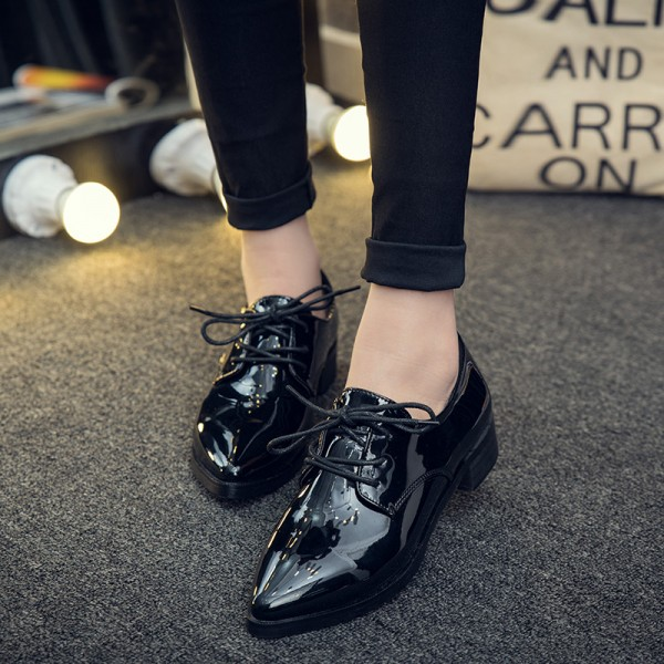 Black Women's Oxfords Patent Leather Lace up Heels Vintage Shoes image 1