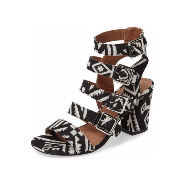 Black and White Buckles Block Heels Open Toe Sandals image 1