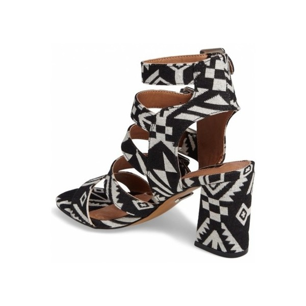 Black and White Buckles Block Heels Open Toe Sandals image 2