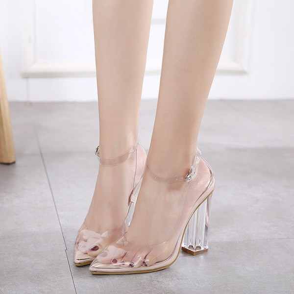 Transparent Pointy Toe Clear Strap Heels Sexy Block Heels Pumps image 1 ...