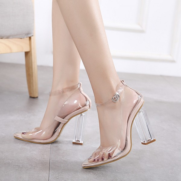 ... Transparent Pointy Toe Clear Strap Heels Sexy Block Heels Pumps image 2  ...