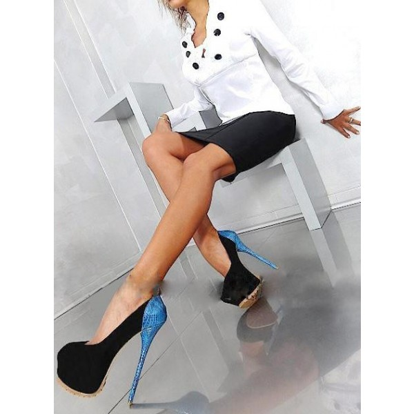 Black Suede Stripper Heels Blue Python Platform Pumps Shoes image 2