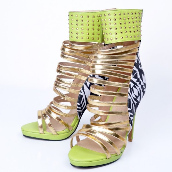 Lime Green Gladiator Sandals Open Toe Stiletto Strappy Heels For Women image 3