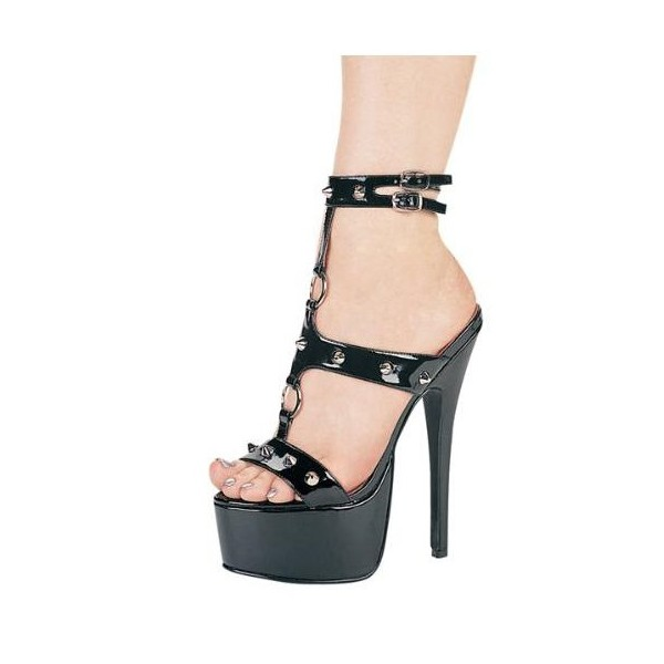 Black Stripper Heels T Strap Platform Sandals with Rivets image 1