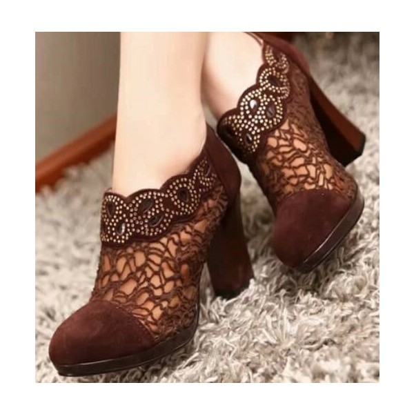 Maroon Lace Chunky Heel Boots Ankle Booties with Rhinestone image 1