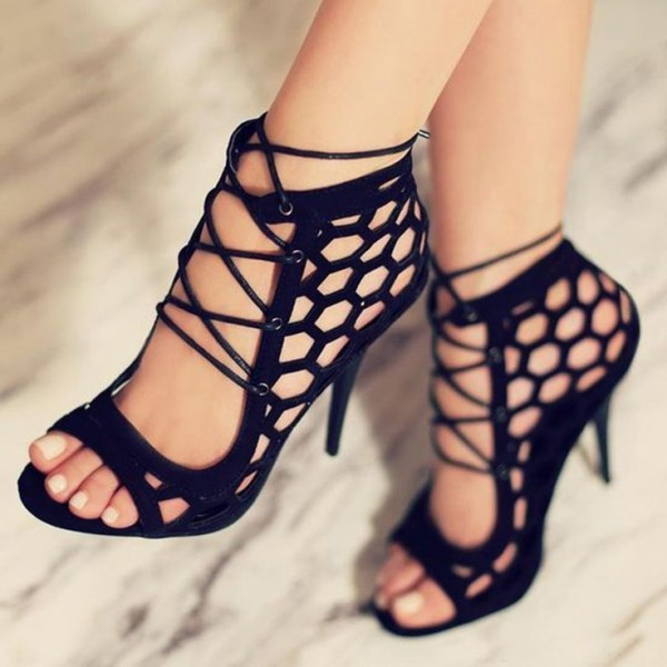 Black Strappy Sandals Hollow out Open
