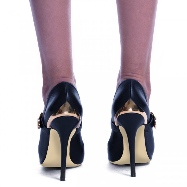 Navy and Gold Heels Metal Stiletto Heels Vintage Mary Jane Pumps  image 3