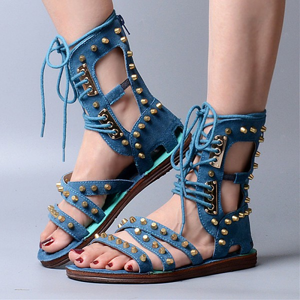 Blue Lace Up Studded Sandals Open Toe Strappy Sandals image 2