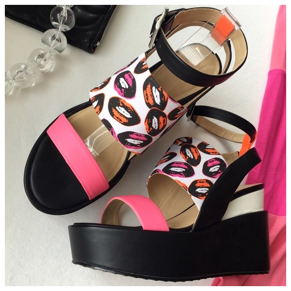 Women's Black and Pink Ankle Strap Open Toe Wedge Heels Sandals image 1