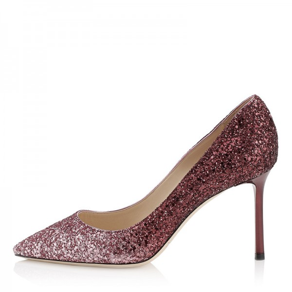 Women's Pink Sparkly Heels Prom Stiletto Pump Shoes image 1