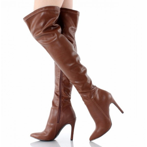 f850ff9b5d8 Brown Thigh High Heel Boots Pointy Toe Stiletto Heel Long Boots image 1 ...