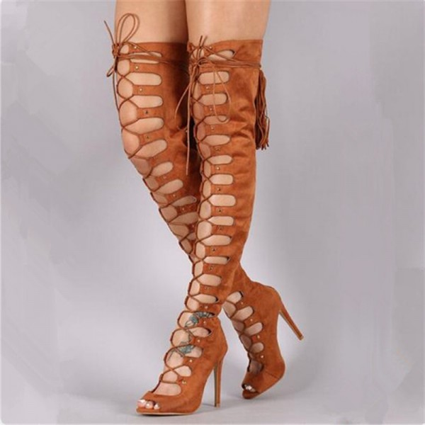 Tan Gladiator Boots Suede Peep Toe Thigh High Lace up Boots image 1