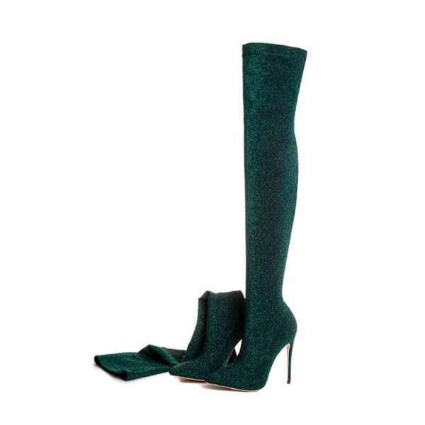 Green Thigh High Heel Boots Pointy Toe Elastic Stiletto Heel Shoes image 2