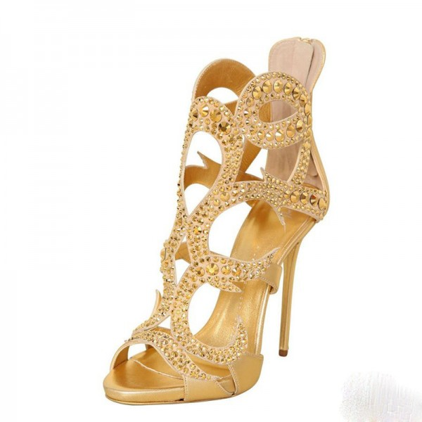 Gold Rhinestone Heels Luxury Cage Sandals for Party image 1