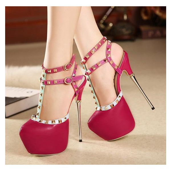 Magenta T Strap Pumps Rivets Sequined Almond Toe Platform Heels image 1