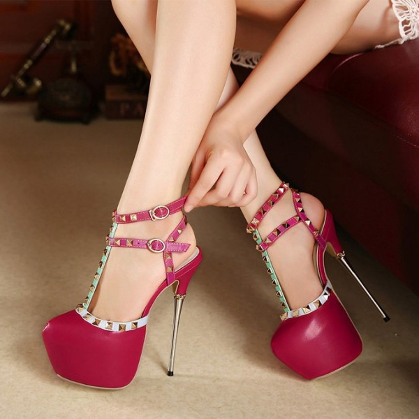 Magenta T Strap Pumps Rivets Sequined Almond Toe Platform Heels image 2