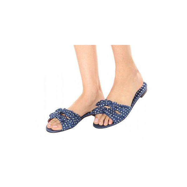 Midnight Blue Polka Dots Bow Sandals Flat Women's Slide Sandals image 1